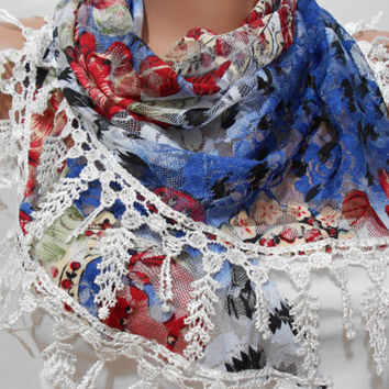 Blue Red White Scarf Shawl, Floral Cowl Scarf with Lace Edge, Gift For Mom For Her, ScarfClub