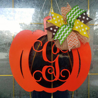 Fall decor, Custom pumpkin, Personalized door hanger, Personalized wreath, fall wreath, Metal pumpkin, Home decor, Thanksgiving decor,