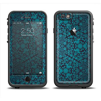 The Teal Floral Mirrored Pattern Apple iPhone 6 LifeProof Fre Case Skin Set