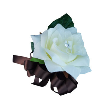 wrist corsage - Ivory Open Rose: Pick Ribbon Color Below