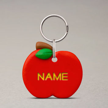 Apple Pet ID Tag - Name Tag For Pets, Custom Pet ID Tag, Cute Name Tag