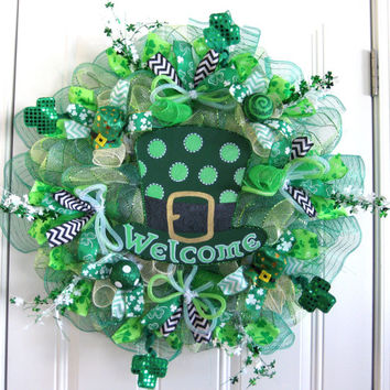 Leprechaun Top Hat Deco Mesh St Patricks Day Wreath St Patricks Day Deco Mesh wreath Welcome St Patrick's Day Door Hanger Spring Wreath