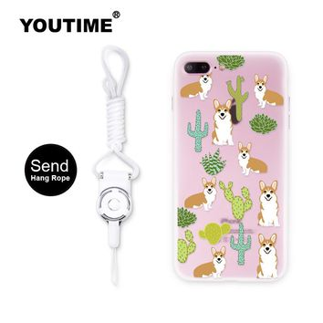 YOUTIME design fashion phone case for iphone 7 plus 7 6 6s cover new arrival silicone cool anti-knock Corgi and plant cute