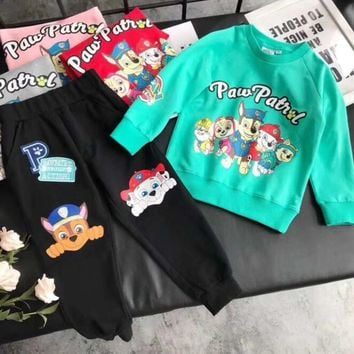 Paw Patrol Girls Boys Children Baby Toddler Kids Child Fashion Casual Top Sweater Pullover Pants Trousers Two Piece Set