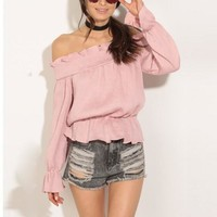 Fall Strapless Pink Top
