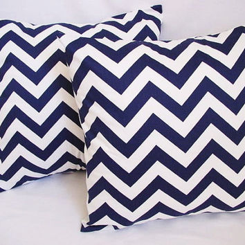 HOLIDAY SALE - 2 Chevron Decorative Pillow Covers Blue and White - 16 x 16 inches Throw Pillow Cushion Cover Accent Pillow