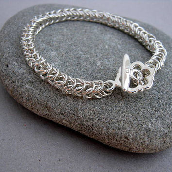 Chainmaille Bracelet/Non-Tarnish Silver Plated Boxchain