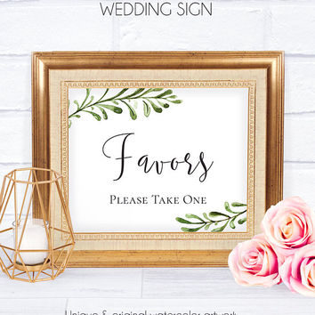 Printable Wedding Favor Sign, Rustic Wedding Template, Wedding Signage, Wedding Decor, Wedding Favor Sign, Please Take One,Favors Template