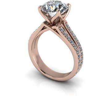 Contemporary Diamond Engagement Ring Setting - Moissanite Round Engagement Ring