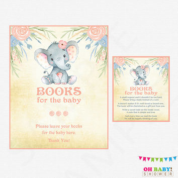 Elephant Baby Shower, Bring a Book Instead of Card, Book Request Baby Shower, Watercolor Baby Shower Girl, Instant Download, Printable ELWP