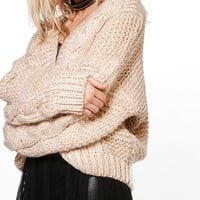 Francesca Oversized Cable Knit Boyfriend Cardigan | Boohoo