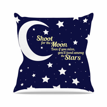 "NL Designs ""Moon And Stars Quote"" Blue White Throw Pillow"