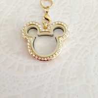Memory locket gold stainless steel Mickey .... Mickey Mouse Inspired locket with crystals