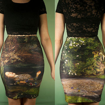 Ophelia-Hamlet Skirt, Art History, Ophelia, Shakespeare, Millais, High Waisted Fitted pencil Skirt, RetroFolie