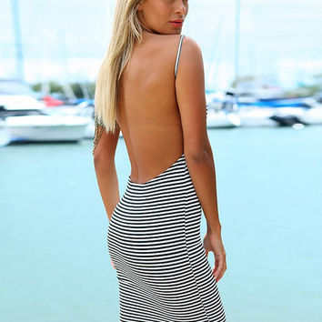 Blue and White Striped Spaghetti Strap Backless Pencil Bodycon Midi Dress