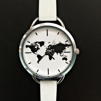 World Map Wrist Watch, Women Watches, Minimalist Watch, Travel Map, Accessories, Jewelry, Leather Watch, Simple Watches, Gift for Her,