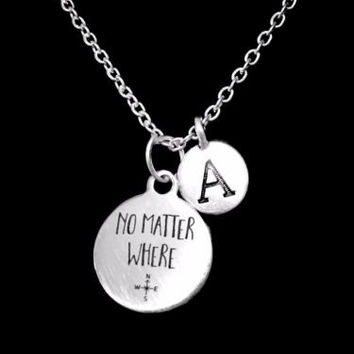 Choose Initial, No Matter Where Long Distance Best Friends Sister Gift Necklace