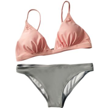 Sexy hot Sale Pink Top And Grey Bottom Two Piece Bikini