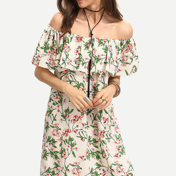 Off the Shoulder Ruffle Top Floral Print Dress