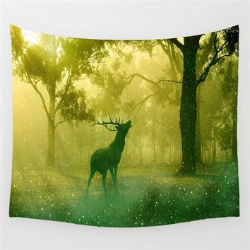 Dreamy Forest Elk Wall Tapestry