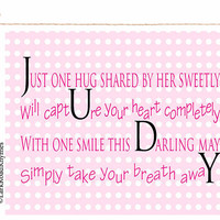 Baby Gift Nursery Wall Art Girl Newborn Girl Gift Nursery Decor Name New Baby Gift Baby Keepsake Gift Niece Gift Personalized Poem 8x10 Judy