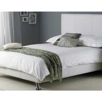 Hyder | Milan White/Black Faux Leather Bed Frame | bedsdirectuk.net