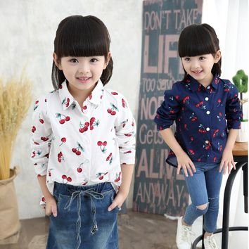 Blouses For Girls School Shirts Kids Girl Long Sleeve Cotton Cherry Printed Meisjes Blouse Fashion Baby Girls Casual Clothes