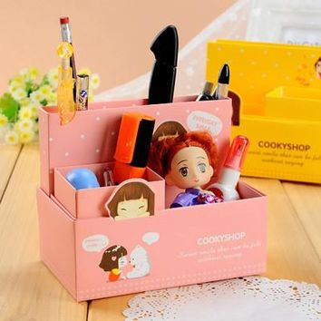 Cute Kawaii Cartoon Little Girl Candy Color DIY Paper Desktop Pen Holder Case Pencil Vase Brush Pot Pen Container Storage Box