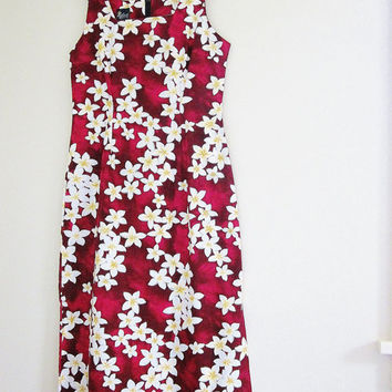 Long Hawaiian Maxi Dress - Royal Creations Tube Dress - Made In Hawaii USA - Sleeveless Cotton Dress Vintage Floral Print Sun Dress XL