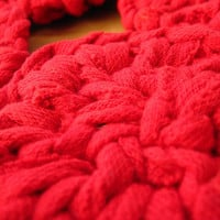 Knitted Coasters Scarlet Red Circular Retro Mug Rugs Mats Upcycled T Shirts (set of 4) -- US Shipping Included