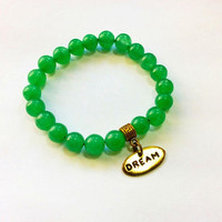 Dream Stone Jade Beaded Bracelet: gemstone beads stretch bracelet
