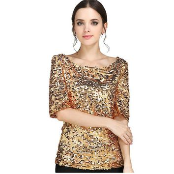 S-5XL Women Sequined T shirt European Summer Hot Sale Half Sleeve T-shirts Plus Size Casual Solid Slash neck Tops 62628