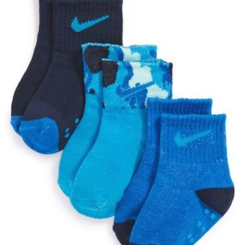 Infant Boy's Nike 'Camo Cuff' Gripper Socks (3-Pack)