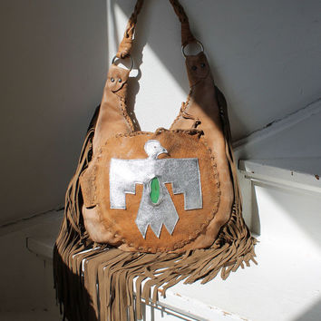 Leather aztec southwestern thunderbird bag western hobo slouchy the eagle boho bohemian bag festival purse fringe bag fringed bag tribal