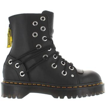 Dr. Martens Daria - Black Leather Grommet Back Zip Combat Boot
