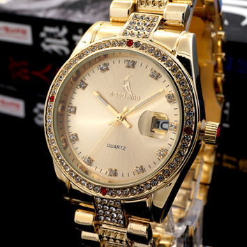 Men's Women's Gold Watches With Crystal Rhinestones Luxury Brand Designer Business Watches in Gift Box with Calendar