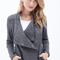 LOVE 21 Marled Knit Shawl Collar Jacket Charcoal