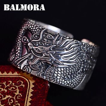 BALMORA 100% Real 999 Pure Silver Dragon Heart Sutra Open Rings for Men Vintage Fashion Buddhism Ring Jewelry Gift JWR057225