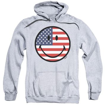 Smiley World - American Flag Face Adult Pull Over Hoodie