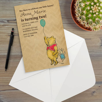 Instant Download - Classic Vintage Illustration Pooh Bear Winnie Balloon Piglet Birthday Rustic Cottage Chic Event Party Invitation Template