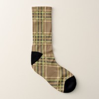 Golden Brown Plaid Pattern Socks