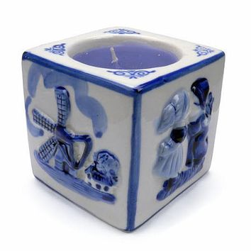 Blue Votive Candles Embossed Mill & Kiss