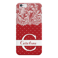 Red Polka Dots & Lace Monogram and Personalized iPhone or Samsung Galaxy Case, Lacy Phone Case, Polka Dot Phone Case, Monogram Phone Case