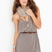 Racerback Wrap Dress - Silver - NASTY GAL
