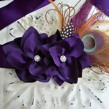 Bridal Gown Floral Sash- Plum Silk Dahlia - Peacock Mixed Feather Brooch - Crystal Rhinestones - Gold Bridcage - Dress Sash - Many Colors