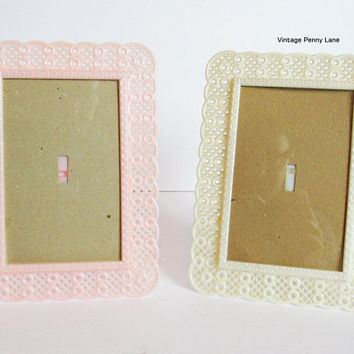 Vintage Plastic Picture Frames, Set of 2, Pink / Off White, 5 1/4 x 3 1/4 Inches