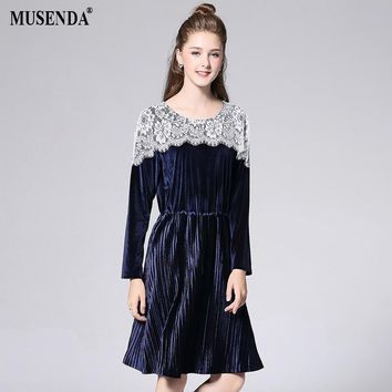 Women Elastic White Lace Over Royal Blue Velour Tunic Dress