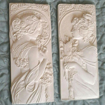 Mucha style art nouveau style/ art deco style/ wall plaques in a plain unfinished white
