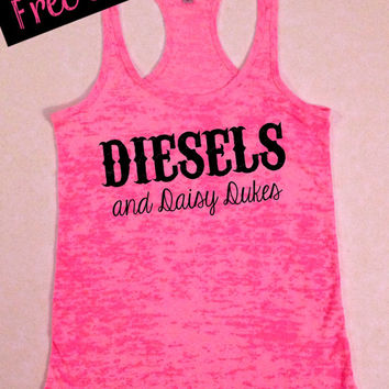 Diesels and Daisy Dukes. Southern Girl Tank Top. Workout Tank. Southern Country Shirt. Fitness Tank. Southern Clothing. Free USA Shipping