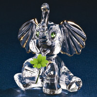 Glass Baron Good Luck Elephant Glass Figurine w/ Swarovski Elements